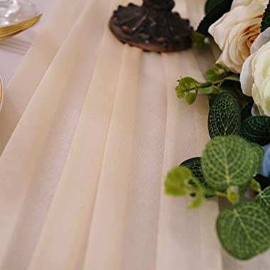 Lookein 10 Feet Champagne Chiffon Table Runner Sheer Wedding Table Cloth 29x120 Inches Rustic Wedding Decorations French Chif