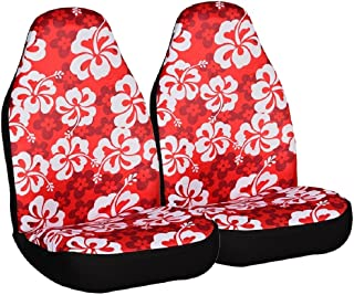 Allison 67-0346RED Red Hawaiian Print Universal Bucket Seat Cover - Pack of 2