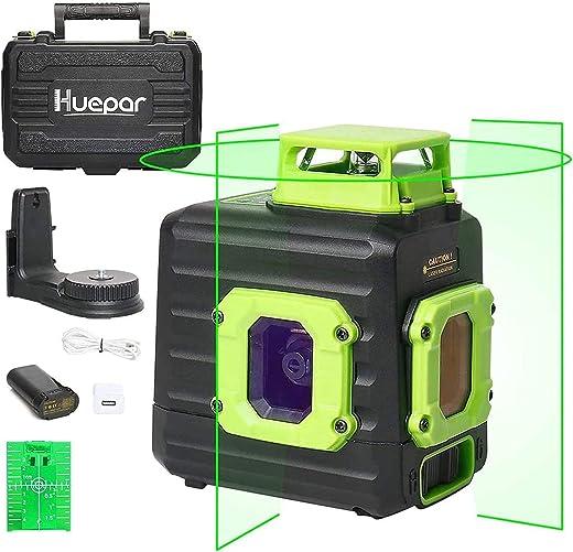 Huepar Cross Line Laser Level, Green 360° Horizontal and Two Vertical Lines,...