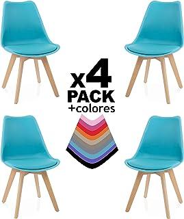 duehome - Beench - Pack de 4 sillas, Madera de Haya, 49 x 53.5 x 83 cm, Turquesa