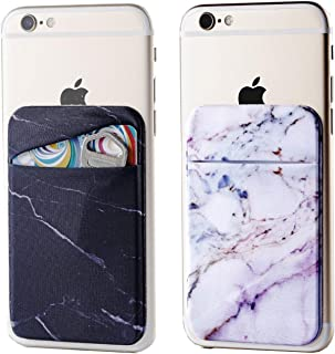 2Pack Marble Adhesive Phone Pocket,Cell Phone Stick On Card Wallet Sleeve,Credit Cards/ID Card Holder(Double Secure) with 3M Sticker for Back of iPhone,Android and All Smartphones-Black,Purple