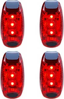 Belia E'lucvy LED Safety Light (4 Pack) Waterproof Red Flashing Bike Rear Tail Light with Free Clip on Velcro Straps for Running, Walking, Cycling, Helmet etc