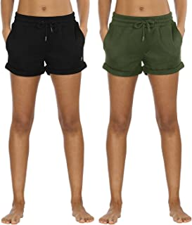 Workout Lounge Shorts for Women - Athletic Running Jogging Cotton Sweat Shorts(Pack of 2)