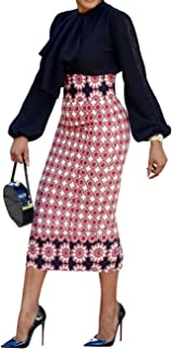 CNJFJ Womens African Print Plaid Midi Skirt Bodycon High Waist Floral Knee Length Pencil Skirts