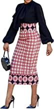 Ermonn Women African Print Knee Length Skirt Slim Fit Midi Pencil Skirt