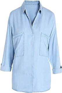 5317f993088 Escalier Women s Denim Shirt Chambray Tencel Long Sleeve Button Down Shirts  Oversize Blouse