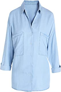 Women's Denim Shirt Chambray Tencel Long Sleeve Button Down Shirts Oversize Blouse