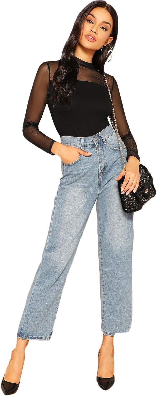 80s Outfit Inspiration, Party Ideas SweatyRocks Womens Mock Neck Long Sleeve Mesh Insert Elegant Blouse Tops  AT vintagedancer.com