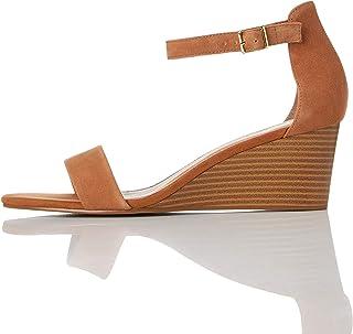 Marca Amazon - find. Wedge Leather - Sandalias con punta abierta Mujer