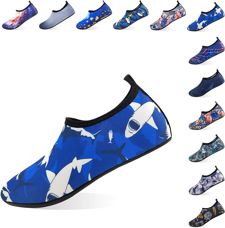 Jjyee Water shoes for Women and Men Barefoot Quick Dry Aqua Socks Slip on for Beach Swim Pool Surf Yoga(Shark,S 36 37)