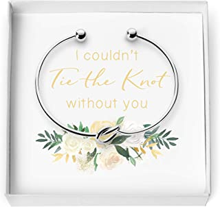 Love Knot Bangle Bracelet - Simple Tie The Knot Cuff Stretch Bracelet for Bridesmaid Proposal - Bridesmaid Gift Box - I Couldn't Tie The Knot Without You, Wedding Gift
