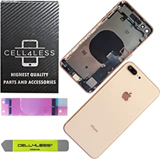 CELL4LESS Back Housing Assembly Metal MidFrame w/Major Components Pre-Installed Including Buttons for iPhone 8 Plus (Gold)