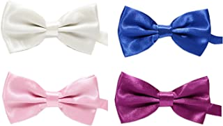 Simple Solid Color Bow Ties Pre-tie Party Bowties Set for Men and Big Boys 4PC