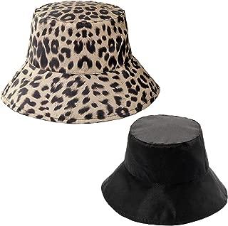 FALETO Women Leopard Print Bucket Hat Summer Packable Reversible Sun Hat
