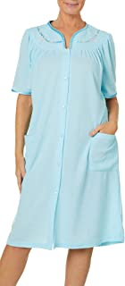 JASMINE ROSE Womens Floral Trim Snap Button Up Blister Robe