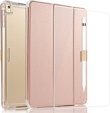 Valkit for iPad Pro 10.5 Case with Screen Protector, Protective Heavy Duty Rugged Shockproof Armor with Pencil Holder for Apple iPad Pro 10.5 Cover 2017 with Tempered Glass Screen Protector, Rose gold