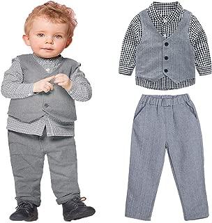 3pcs Kids Children Boys Gentlemen Clothes Shirt Vest Pants Outfit Set