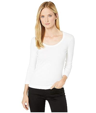 XCVI Essentials Speckle Long Sleeve 1x1 Rib Scoop Neck Tee (White) Women