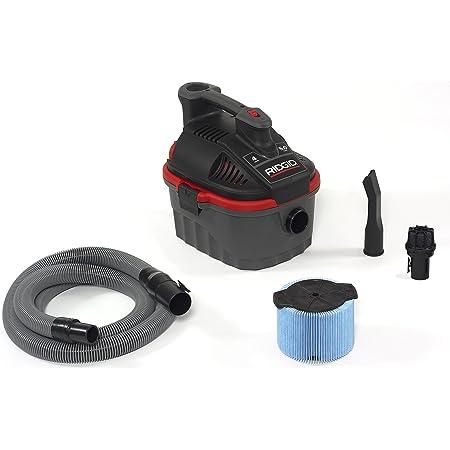 RIDGID 50313 4000RV Portable Wet Dry Vacuum, 4-Gallon Small Wet Dry Vac with 5.0 Peak HP Motor, Pro Hose, Ergonomic Handle, Cord Wrap, Blower Port , Red