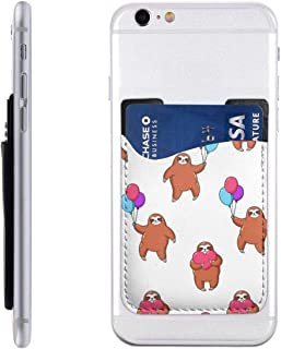 Bkabaouy88 Lovely Sloths Holding Balloons PU Slim Wallet,Ultra Thin Stick-On Silicone Credit Card Holder Sticker Adhesive Cell Phone Wallet Compatible for Most Smartphones 2.43.5in