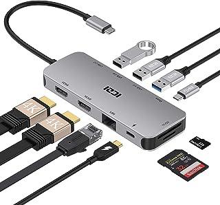 ICZI Doppio 4K@60Hz HDMI USB-C Hub 10 in 1 Adattatore Thunderbolt 3 Triplo-Display Dual HDMI,1Gbps Ethernet,100W PD,USB-C ...