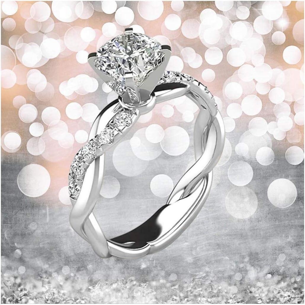 Elegant Crystal Ring Promise Female Rose Gold Anillos Classic Wedding Jewelry FI