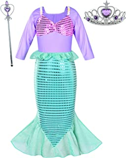 Little Girls Mermaid Costume Princess Dress Up for Birthday with Accessories(Crown+Wand) 3-10 Years