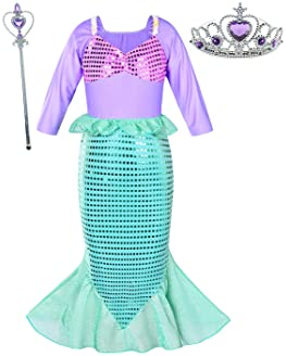 Little Girls Mermaid Princess Costume Dress for Girls Dress Up Party with Crown Mace 4-12 Years