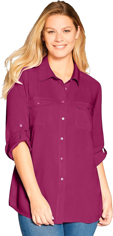 Woman Within Women's Plus Size Utility Button Down Shirt