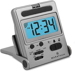 Marathon Basics CL030010TI Travel Alarm Clock, Easy to use, Easy to Set - Battery Included - Color - Titanium