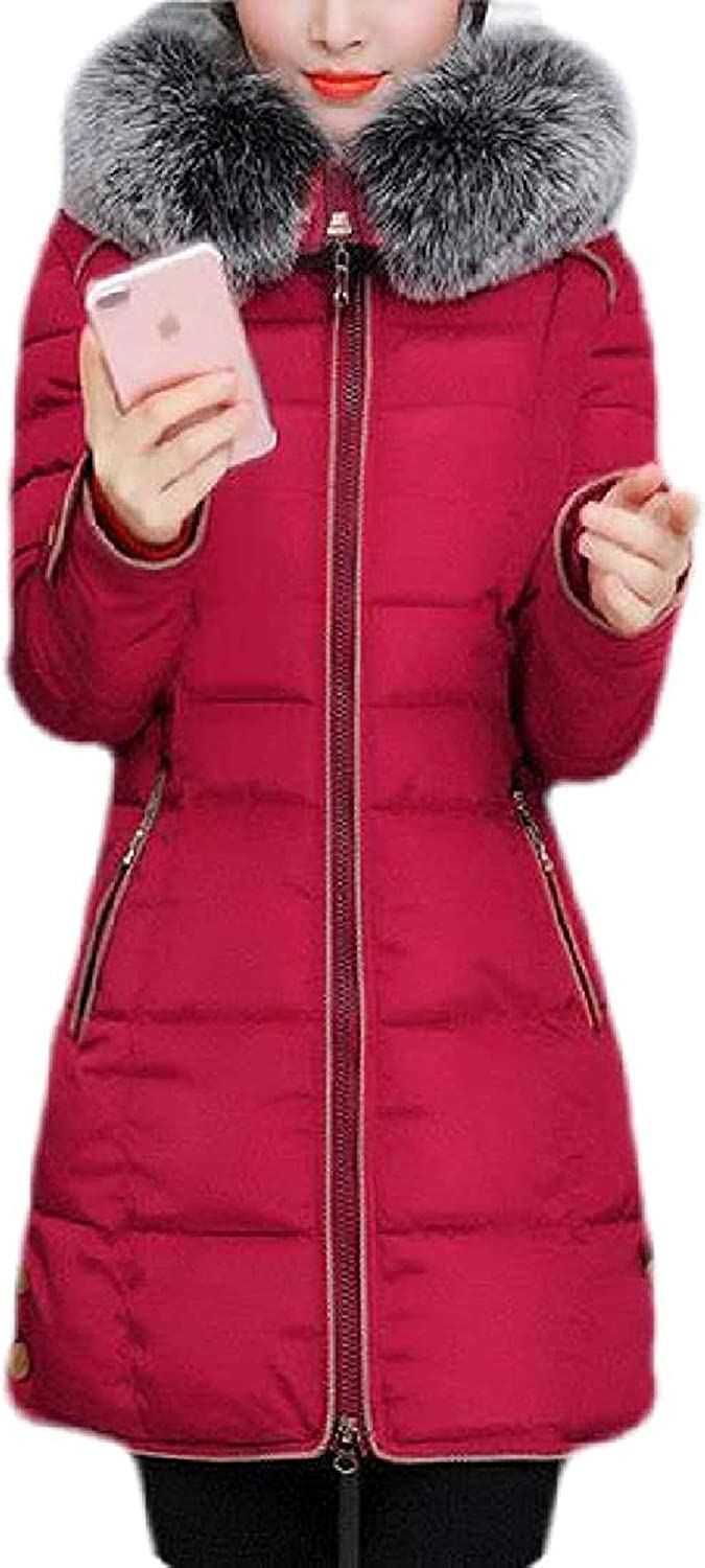 Womens Hooded Fur Faux Outwear Winter Quilted Down Jacket Parka Coat