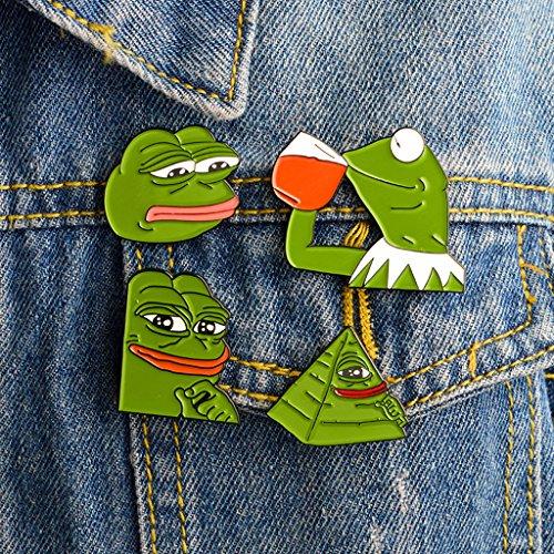 VAILANG 4 Stück Immer Traurig Frosch Pepe Broschen Wohlfühlen Mann Abzeichen Popkultur Frosch Schmuck