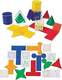 Learning Resources Folding Geometric Shapes Bundle, Math Class Accessories, 3-D and 2-D Concepts, Measurement, Area, Volum...