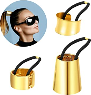 Ponytail Cuff Gold For Women Girls Gothic Punk Metal Hair Ties Circle Hair Holder Elastic Hair Band Fashion Hair Accessories For Ladies Thick Hair Rings Set 3 Styles