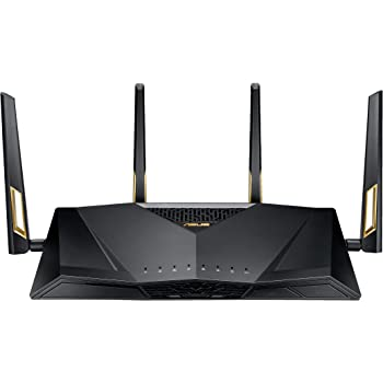 Asus RT-AX88U AX6000 Dual-Band Wi-Fi Router, AiMesh Compatible for Mesh Wi-Fi System, Next-Gen Wi-Fi 6, Wireless 802.11Ax, 8 X Gigabit LAN Ports – A Certified for Humans Device