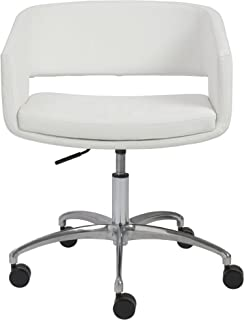 Euro Style Amelia Mod 1960s Leatherette Lounge Office Chair with Chromed Base and Casters, White