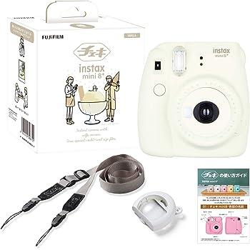 FUJIFILM インスタントカメラ チェキ instax mini8プラス 接写レンズ・純正ショルダーストラップ付き バニラ INS MINI 8PLUS VANILLA