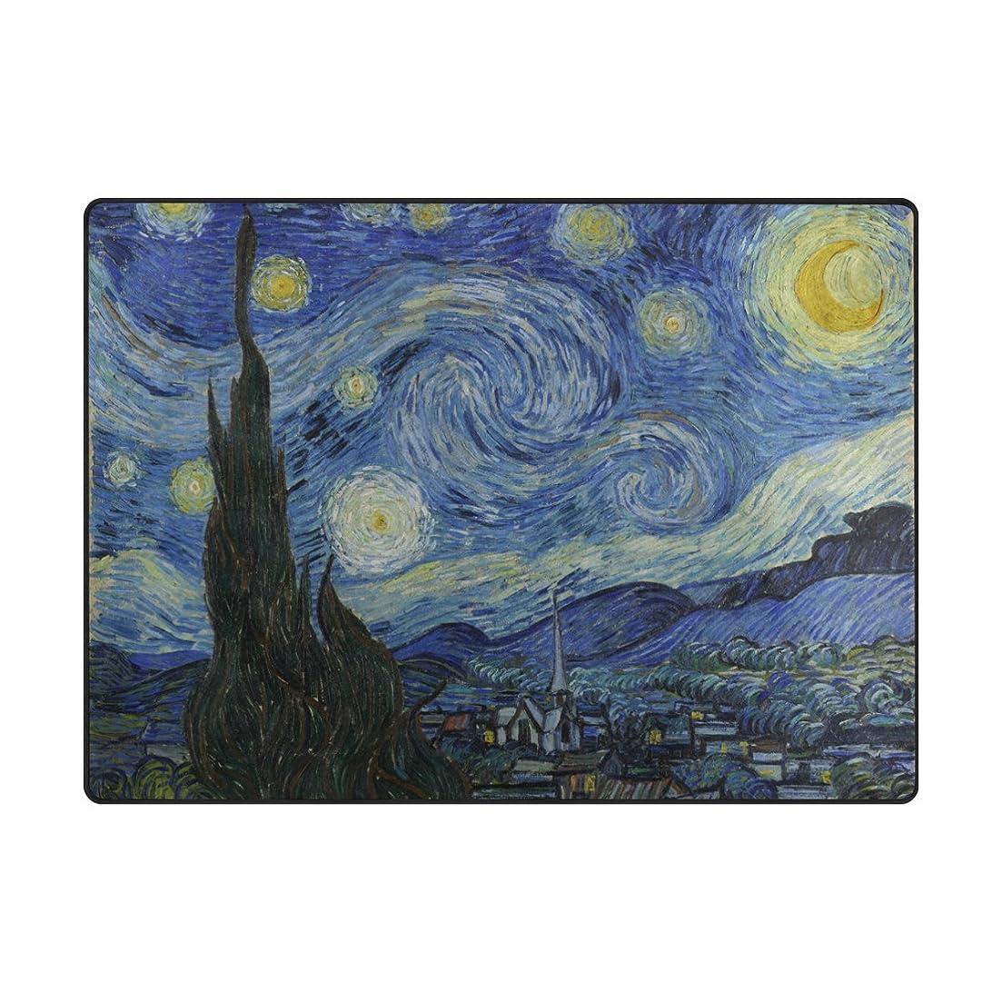 サーバ信条ゲームGORIRA(ゴリラ) ゴッホ 世界名画 The Starry Night 心地よいサラふわ触感 ラグ カーペット 丸洗い 折り畳み可能 滑り止め付き 抗菌防臭 軽量 絨毯 ホットカーペット対応 約203x147cm