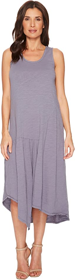 Slub Jersey Shirred Seamed Hi-Low Tank Dress