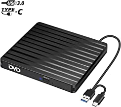 BEVA External CD Drive Type C & USB 3.0 Portable High-Speed CD/DVD +/-RW Reader CD DVD Burner/Player/Writer for PC Desktop/Laptop/Linux/Notebook Windows 10/8/7/XP/Vista