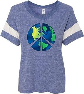 Ladies Blue Earth Eco Blended V-Neck