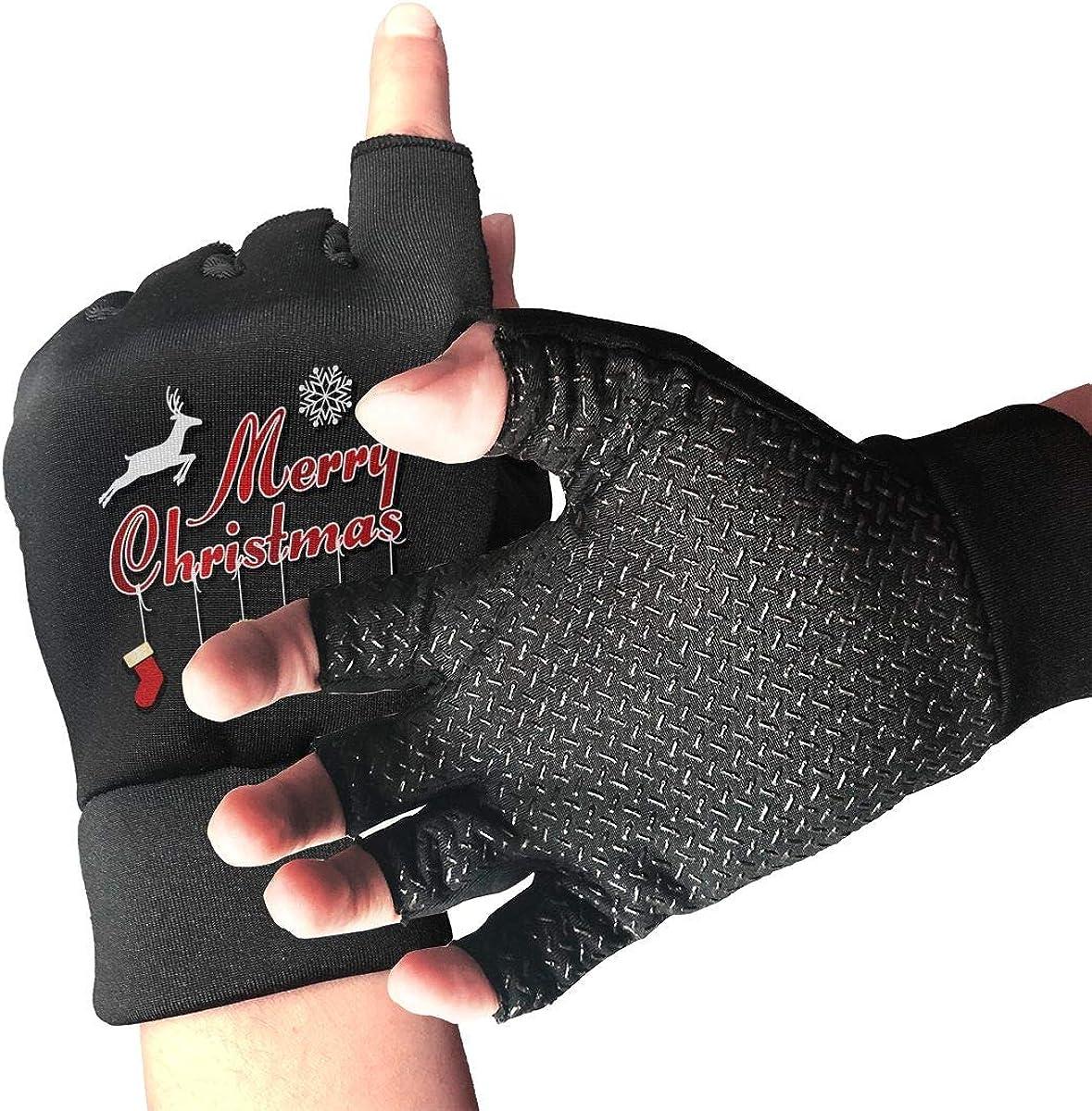 Gloves MERRY CHRISTMAS Shoe Elk Fingerless Gloves Short Touchscreen Gloves Winter Motorcycle Biker Mitten