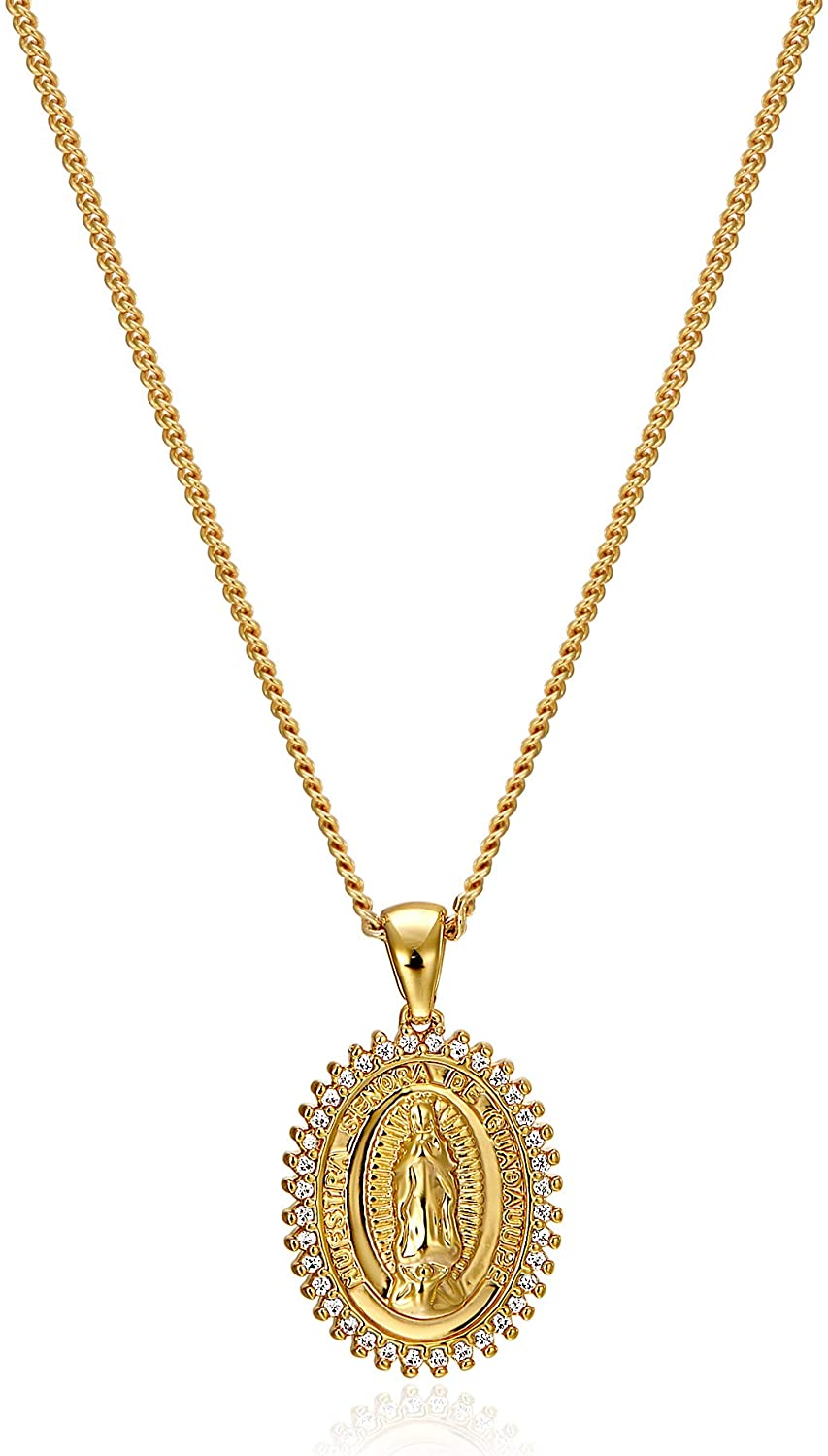 ACC PLANET Virgin Mary Necklace Gold Plated Paperclip Chain Christian Jewelry Rhinestone Miraculous Medal Pendant Gold Necklaces for Women Mothers Day