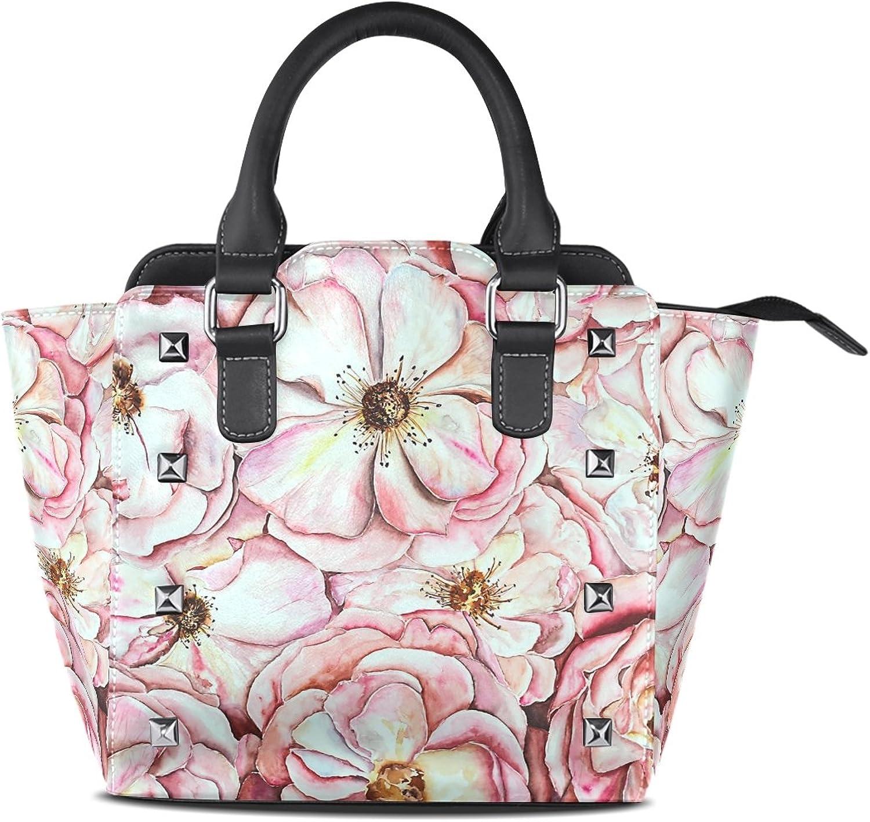 My Little Nest Women's Top Handle Satchel Handbag Watercolor Peonies Ladies PU Leather Shoulder Bag Crossbody Bag