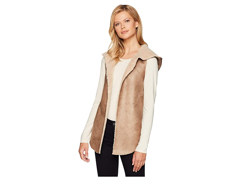 Dylan by True Grit Soft Shearling Reversible Hood Vest (Khaki/Natural) Women