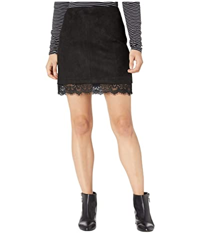 BB Dakota Too Little Too Lace Faux Suede Mini Skirt with Lace Trim (Black) Women