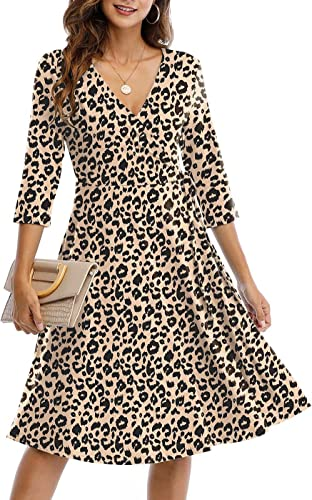 CHARMYI Wrap Dresses for Women Casual V Neck Floral Party Swing A-Line Faux Wrap Dress Midi Length