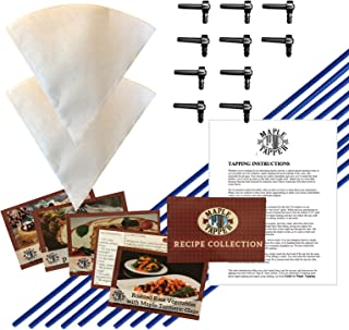Maple Syrup Tree Tapping Kit – (10) Taps + (10) 3-Foot Drop Line Tubes + (2) 1- Quart Maple Sap Filters – Dark Blue Premium Food Grade Tubing - Instructions, Recipe Cards
