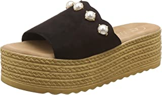 Catwalk Women's Pearl Detail Espadrille Slides