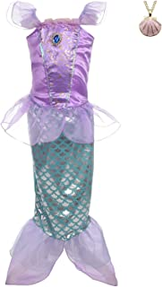 Lito Angels Girls' Princess Mermaid Ariel Dress Up Costume Fairy Tales Mermaid Outfit with Necklace